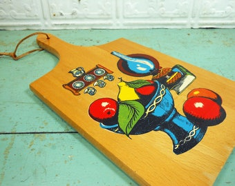 Vintage Kitchen Decor Novelty Cutting Board, Made in Yugoslavia