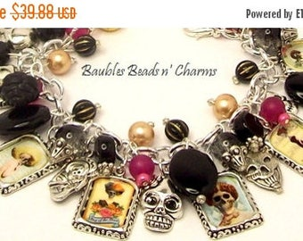 Sale Skull Altered Art Charm Bracelet, Day of the Dead Charm Bracelet Jewelry,  'Día de los Muertos' , Gothic Jewelry