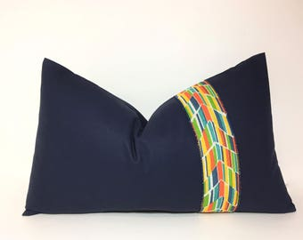 Navy lumbar pillow cover. Multi colored ribbon embellished 12x20 lumbar pillow cover, accent throw pillow, home decor accent