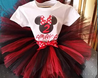 Red, White, Black, Minnie Mouse , Shirt and tutu Skirt Birthday Outfit