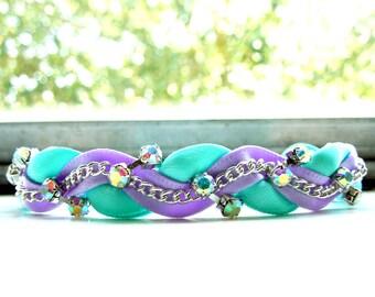 Celeste and Lilac Braided Ribbon & Chain Bracelet