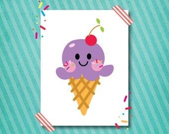 ice cream wall art printable one grape scoop 16x20