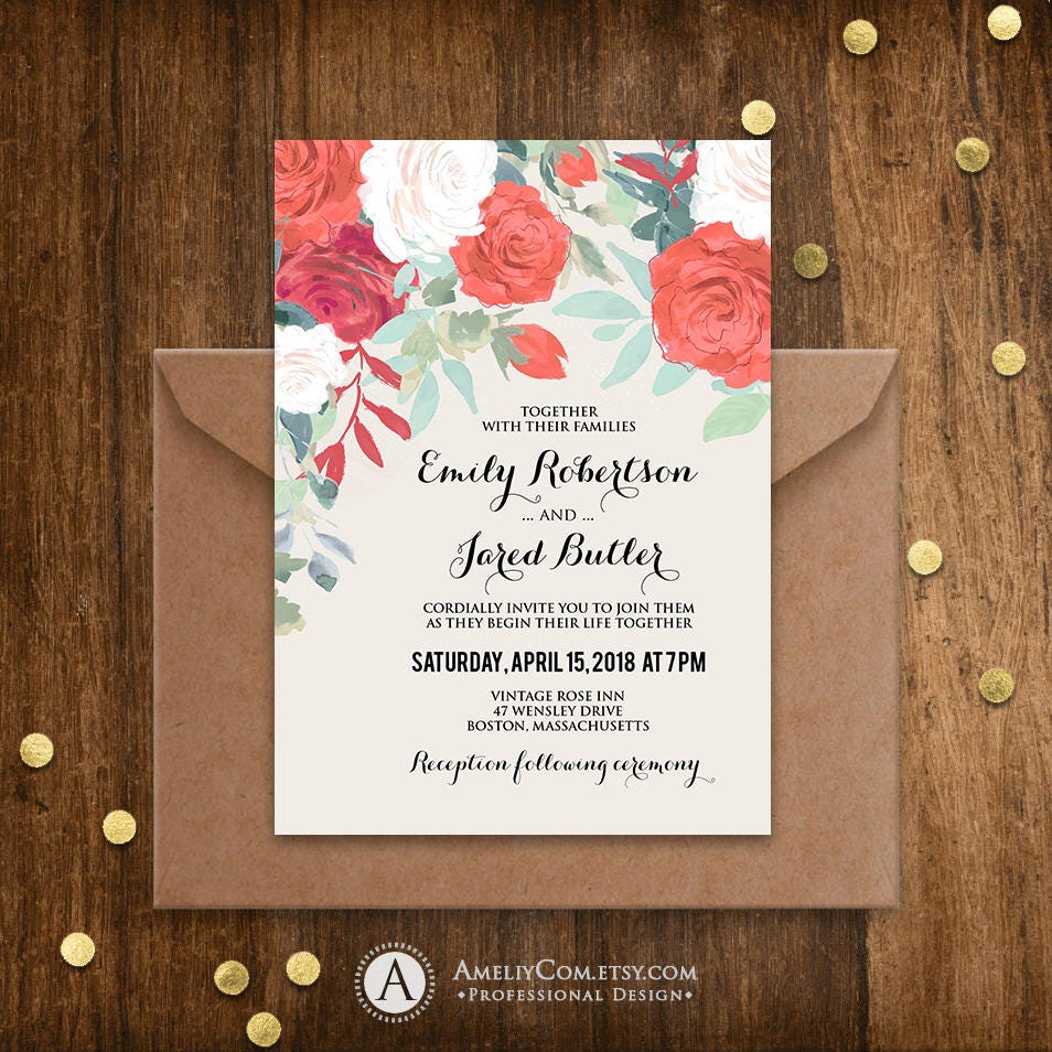 Outdoor Wedding Invitation Wording: Garden Wedding Invitation Outdoor Wedding Invitation DOWNLOAD