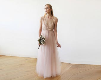 Pink tulle and lace gown, Pink lace bridesmaids maxi gown 1113