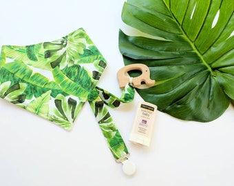 Bandana Bib, Baby Teether Teething Ring and Pacifier Clip in Tropical Leaves Bandana Bib. Baby Bib, Pacifier Clip and Teether. Palm Tree.