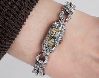 Antique Watch - Antique Ladies Waltham 1920's Platinum Diamond Wrist Watch