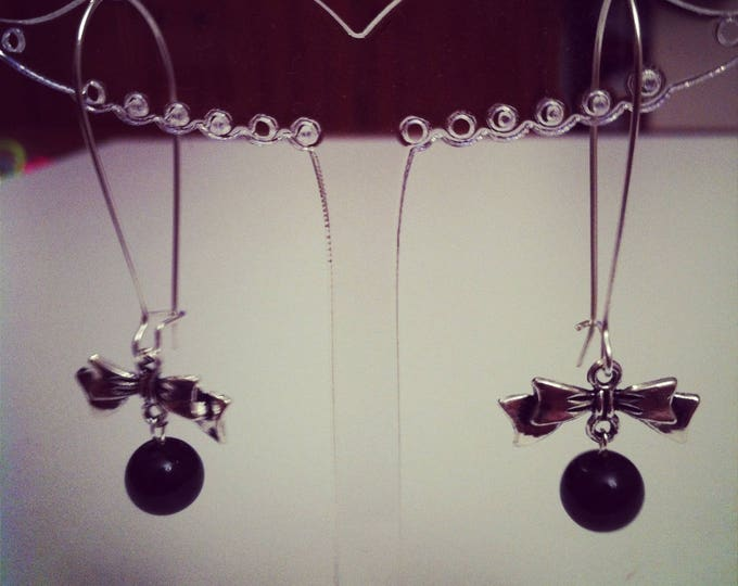 Earrings large bows black silvery clasps