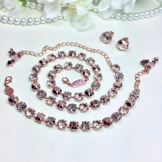 Swarovski Crystal Necklace  - Stunning Gorgeous Colors- 8.5mm Rose Gold, Rose Patina, & Lt. Silk - Designer Inspired  - FREE SHIPPING