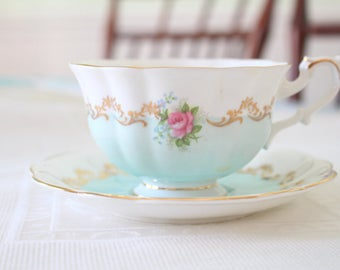 VERY RARE,  English Bone China Teacup & Saucer By Royal Albert, Invitation Series, Avon Shape, Replacement China - c. 1962 - 1970's