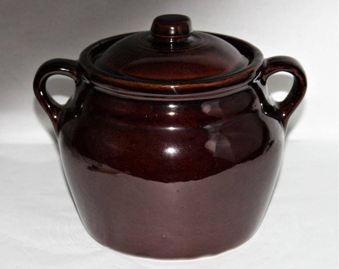 Vintage USA Ceramic Bean Pot, Crock with Lid