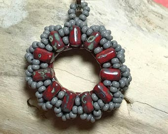 Red Grey Necklace Round Beaded Pendant Beadwork Pendant Red Beaded Pendant Red Pendant Necklace Bead Circle Necklace Beadwoven Pendant