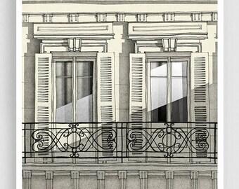 30% OFF SALE: Paris balcony (vertical) - Paris illustration Art Illustration Print Poster Paris decor Home decor Grey Facade Windows Paris A