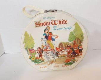 RARE Vintage Ideal Disney SNOW WHITE & The Seven Dwarfs Vinyl Round Doll Carrying Case