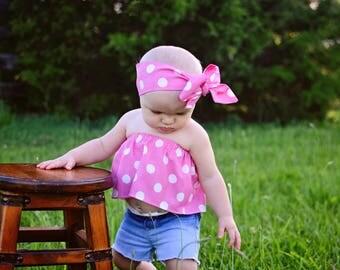 Pink Dot Crop Top Tube Top Cold Shoulder Off The Shoulder Girls Baby Toddler Top