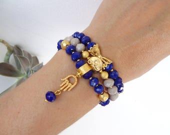 Set of Threes Bracelets,Night Blue Crystal Beads Bracelet,Beige Beads Bracelet,Gold Hand of Fatima Bracelet,Charm,Elegance,Christmas Gifts
