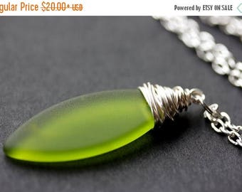SUMMER SALE Olive Seaglass Necklace. Green Necklace. Olive Green Frosted Glass Necklace. Marquis Necklace in Silver. Handmade Jewelry.