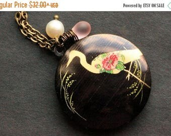 VALENTINE SALE Heron Locket Necklace. Bird Necklace with Pink Teardrop and Fresh Water Pearl. Crane Necklace. Handmade Jewelry.