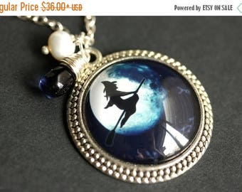 VALENTINE SALE Witch Necklace. Witch Pendant. Halloween Necklace with Dark Blue Teardrop and Fresh Water Pearl. Blue Moon Necklace. Handmade