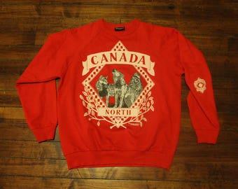 Canada North wolfpack sweatshirt wilderness howling wolf crewneck XL