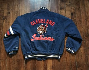 Cleveland Indians canvas letterman jacket MLB Baseball varsity coat Large