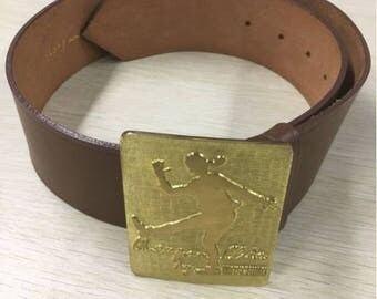 Moschino belt brown leather vtg