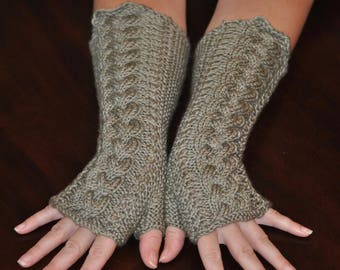 Gray Cabled Fingerless Gloves, Unique Fingerless Gloves, Hand Knit Long Gloves,  Adult Small - Medium Gloves, Fancy Long Gloves