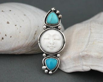 Three Stone Ring, Moon Ring, Turquoise Ring, Handmade Fine Silver, Split Shank Ring, Boho Jewelry, Rustic Jewelry, Bohemian Ring, Gypsy Ring