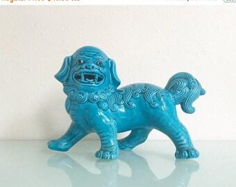 ON SALE Vintage Turquoise Ceramic Foo Dog
