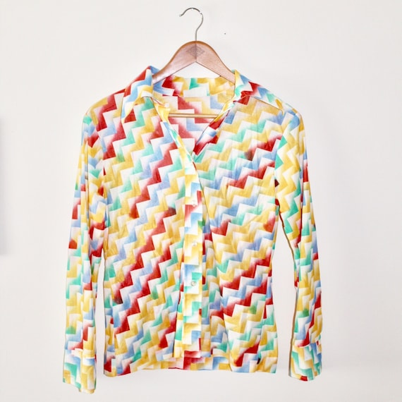 70s Geometric Sheer Button Up Long Sleeve Blouse, Sheer Womens Top, Psychedelic Pattern, Size Small
