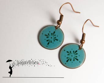 enamel earrings painted with pattern, 1,5cm