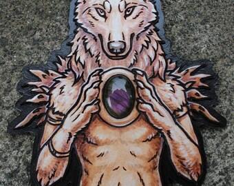 Leather werewolf with labradorite
