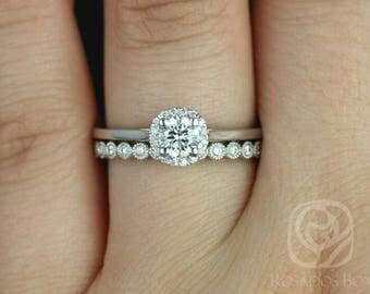 Rosados Box Ready to Ship Amerie 4.50mm & Petite Bubbles 14kt White Gold Round FB Moissanite and Diamonds Halo Wedding Set
