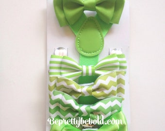 St patricks day bowtie Suspenders Clover Wedding Ring Bearer Outfit Groomsmen Apple Green Bow ties Baby Toddler braces Boy Necktie mens gift