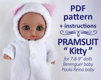PDF sewing pattern Pramsuit sleeper suit romper for Berenguer, Paola Reina baby 8 inches