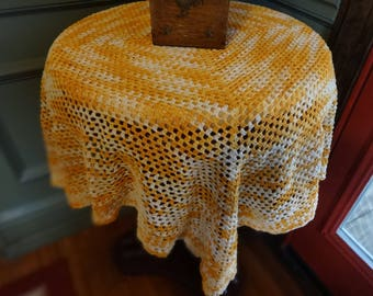 Crocheted Baby Afghan | Large Doily | Orange Tablecover | Retro Tablecloth
