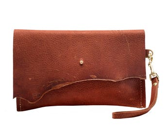 Leather Clutch, Copper Leather Wristlet, Small Bag, Cosmetic Purse, Foil Monogram