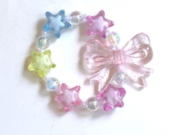 Fairy Magic - Chunky Pastel Stars Stretch Bracelet with Iridescent Bubble Beads and Pink Glitter Bow