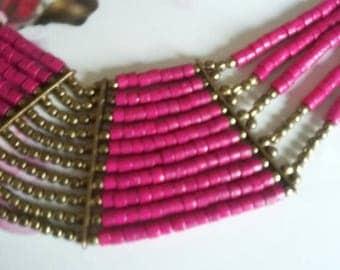 SALE/BOHEMIAN Vintage Multi-strand Fushia Hot Pink Brass Tribal Ethnic Bead Necklace Choker