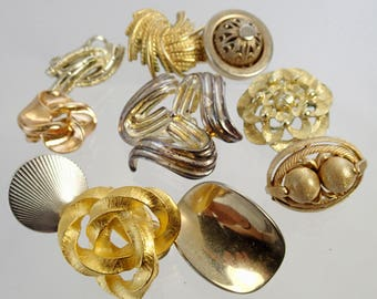 FREE Shipping Vintage Lot of 10 Pairs Metal Tones Gold Silver Colored Clip On Earrings Signed  Vendome Givenchy Monet BSK Crown Trifari