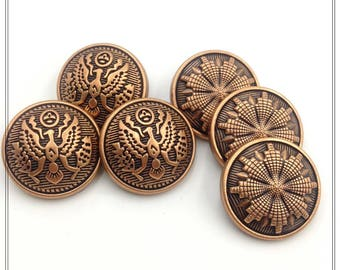6 Pcs 0.98 Inches Retro Copper Patterns Alloy Metal Shank Buttons For Coats