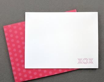 XOX xoxo Letterpress Thank You Notecards with bright washi style polka dot envelopes   Wedding Thank You cards   Thank You notes