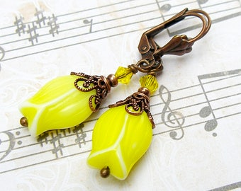 Yellow Tulips - vintage, Victorian style antique copper earrings