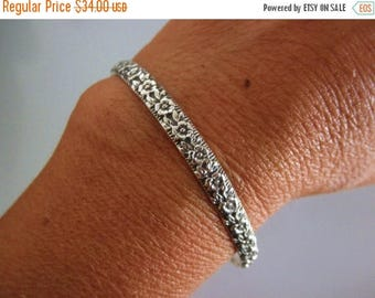 10%0FF Sterling silver Cuff bracelet-flower design-
