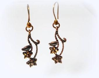 Topaz Swarovski Crystal Flower Earrings Roped Antiqued Copper Stem Earrings Long Dangle Earrings Beaded Drop Earrings Nature Jewelry