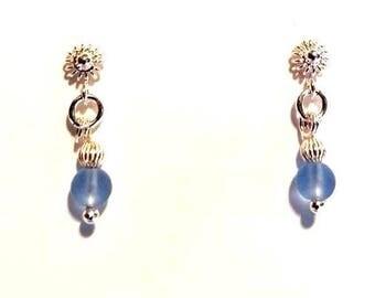 sterling silver studs earrings frosted short blue bead post earrings dainty sterling silver flower jewelry dangle beaded earrings