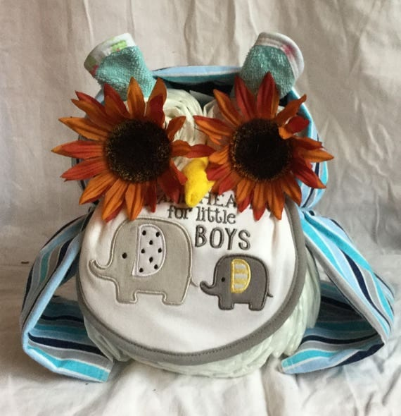 Boys Owl Diaper Cake Baby Shower Gift