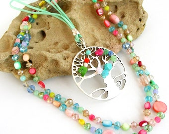 Multicolor necklace, Crystal beads, mother of Pearl / tree / green suede