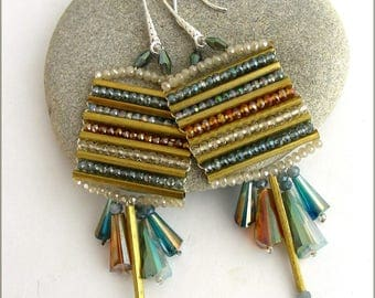 Woven multicolored - Crystal, Pearl Earrings