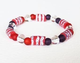 Bracelet Ethnique Chic - Rouge Afrique - Verre recyclé, Gemme Cristal de Roche, Verre dépoli - Bijoux créateur, fait-main, pièce unique