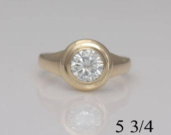Moissanite engagement ring, size 5 3/4, 14k yellow gold and moissanite ring, #584.